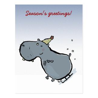 Sleigh riding hippo (editable words) postcard
