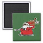 Sleigh Riding Santa Claus Fridge Magnet