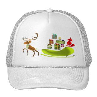 Sleigh thrown by reindeer and Pope noel Trucker Hat