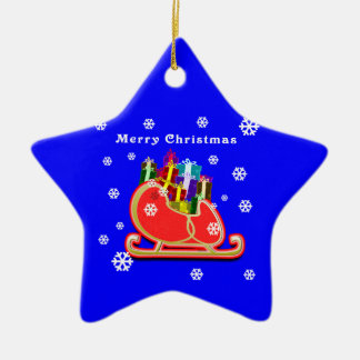 Sleigh with Gifts   ornament  star shaped