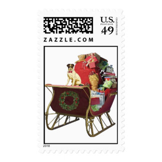 SLEIGH WITH JACK RUSSELL POSTAGE