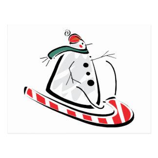 Sleighing Snowman Postcard