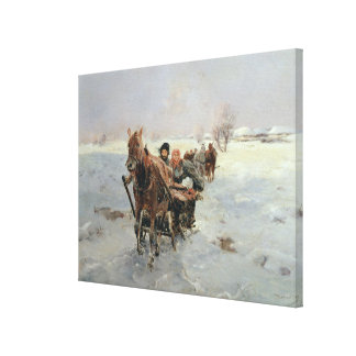 Sleighs in a Winter Landscape Canvas Print