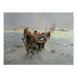Sleighs in a Winter Landscape Poster