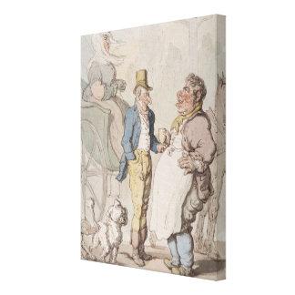 Slender Billy, Travellers taking refreshment (w/c Canvas Print