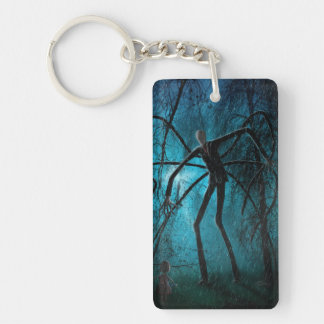 Slender Man and the Lost Soul Single-Sided Rectangular Acrylic Keychain