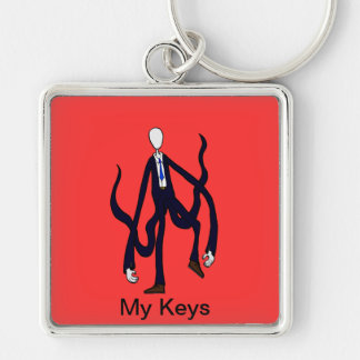 Slender Man - Book of Monsters Halloween Silver-Colored Square Keychain