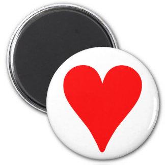 Slender Red Heart 2 Inch Round Magnet
