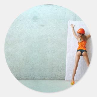 Slender woman paste wallpaper classic round sticker
