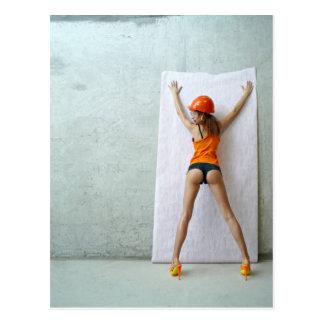 Slender woman paste wallpaper postcard