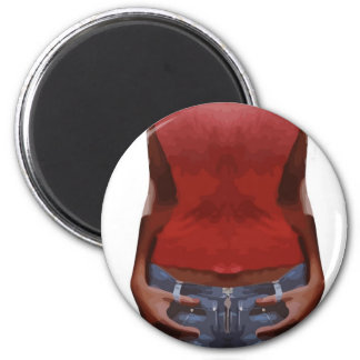slender young woman in jeans and red T-shirt 2 Inch Round Magnet