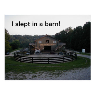Slept in a barn postcard