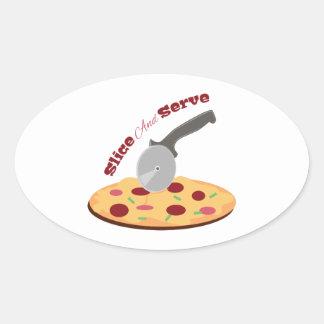 Slice And Serve Oval Sticker