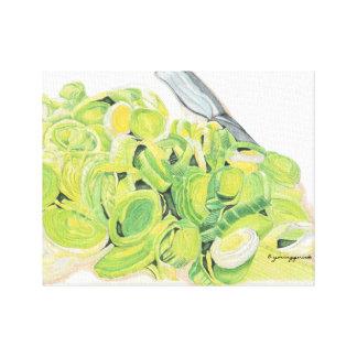 Slice Leeks Kitchen Canvas Stretched Canvas Prints