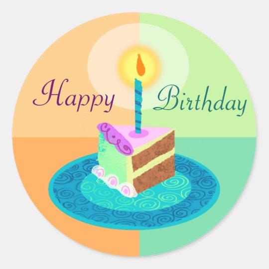 Slice Of Birthday Cake Sticker Zazzle Com