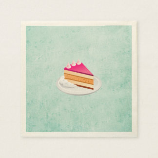 slice of cake on a green vintage texture paper napkin