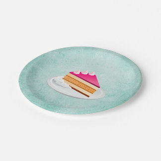 slice of cake on a green vintage texture paper plate