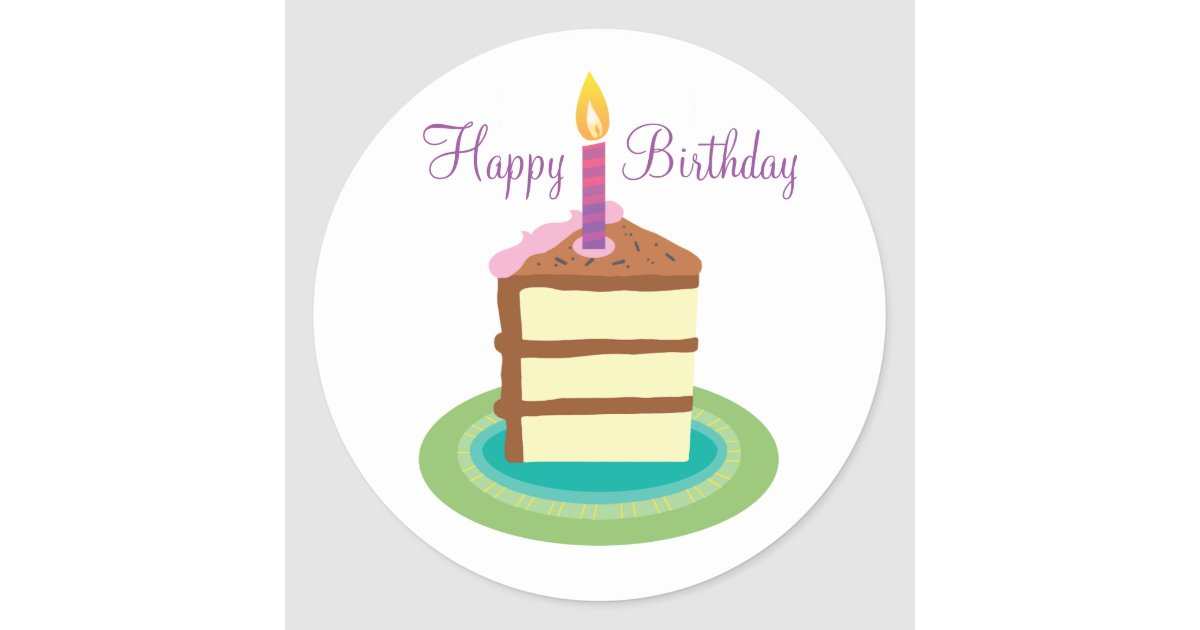 Fabulous Slice Of Chocolate Birthday Cake Stickers Zazzle Com Personalised Birthday Cards Paralily Jamesorg