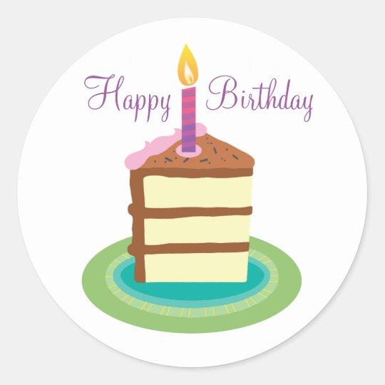 Slice Of Chocolate Birthday Cake Stickers Zazzle Com