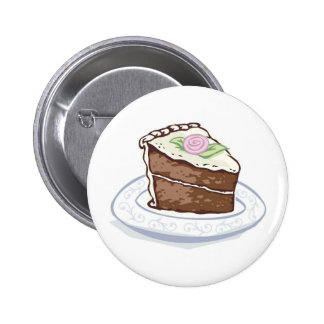 Slice of Chocolate Cake with Pink Rose Accent Pinback Button