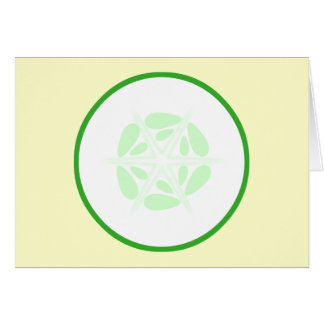 Slice of Cucumber. Green and White. Card