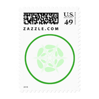 Slice of Cucumber. Green and White. Postage Stamp