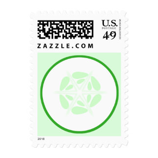 Slice of Cucumber. Green and White. Stamp