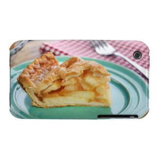 Slice of fresh baked apple pie on plate iPhone 3 case