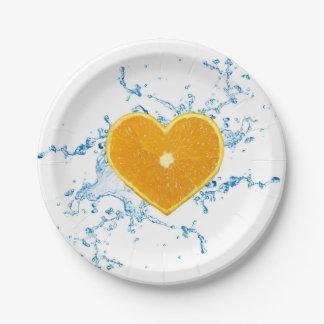 Slice of Heart Shaped Orange - Paper Plate