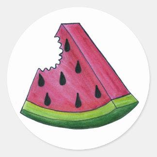 Slice of Juicy Pink Watermelon Rind Fruit Stickers
