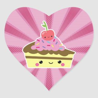 Slice of Kawaii Cake with a Cherry on Top Heart Sticker
