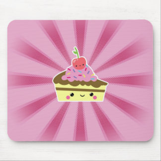 Slice of Kawaii Cake with a Cherry on Top Mouse Pad