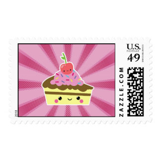 Slice of Kawaii Cake with a Cherry on Top Postage Stamps