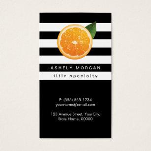 Black and orange business cards templates zazzle slice of orange tangerine logo black white stripes business card colourmoves