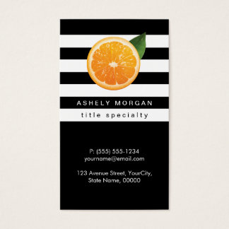Slice of Orange Tangerine Logo Black White Stripes Business Card