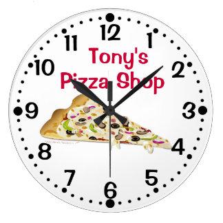 Slice of Pizza Custom Name Shop Kitchen Clock
