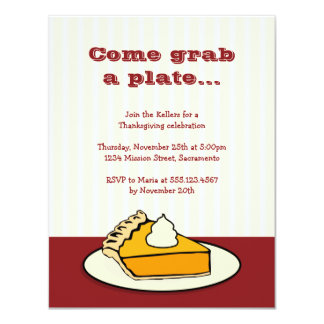 Slice of pumpkin pie on plate Thanksgiving dinner 4.25x5.5 Paper Invitation Card
