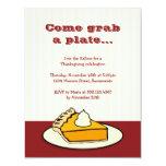 "Slice of pumpkin pie on plate Thanksgiving dinner 4.25"" X 5.5"" Invitation Card"
