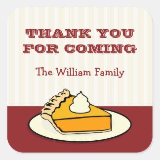 Slice of pumpkin pie on plate Thanksgiving dinner Square Sticker