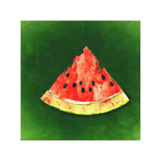 Slice of watermelon on green background canvas print