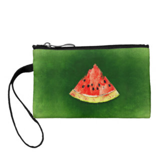 Slice of watermelon on green background change purse