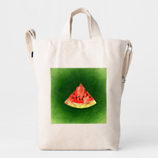 Slice of watermelon on green background duck bag