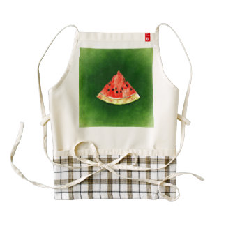 Slice of watermelon on green background zazzle HEART apron