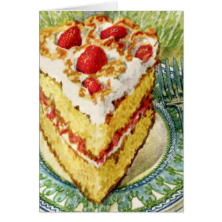 Slice of White Layer Cake With Strawberries Card
