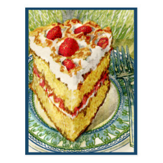 Slice of White Layer Cake With Strawberries Postcard