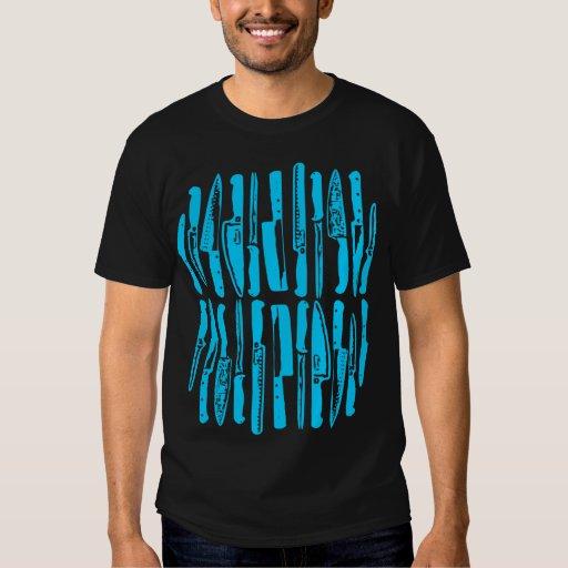 Sliced and Diced - Sky Blue on Dark Tee Shirt