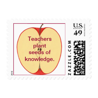 Sliced Apple Plant Seeds of Knowledge Stamps