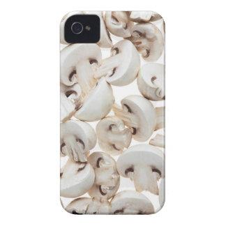 Sliced button mushrooms (agaricus bisporus), on iPhone 4 cover