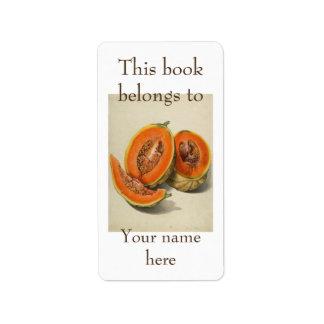 Sliced cantaloupe melon illustration ex libris label