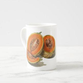 Sliced cantaloupe melon illustration tea cup